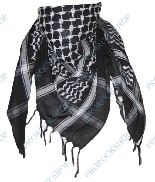 1eaaf4961a7 šátek palestina - arafat - černobílý - černý s bílým vzorem ...