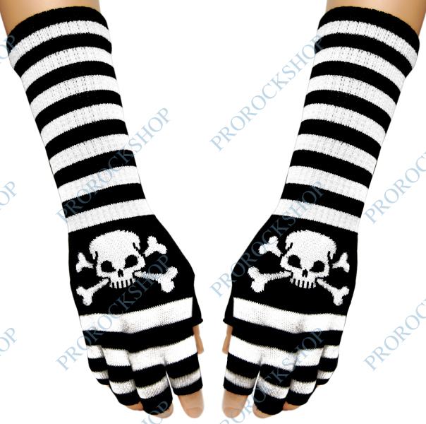 rukavice bez prstů na předloktí - motiv černobílé pruhy a lebka s hnáty c8ffb56cc4