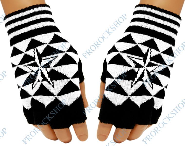 pletené rukavice bez prstů s hvězdou - ProRockShop 6b347d8468