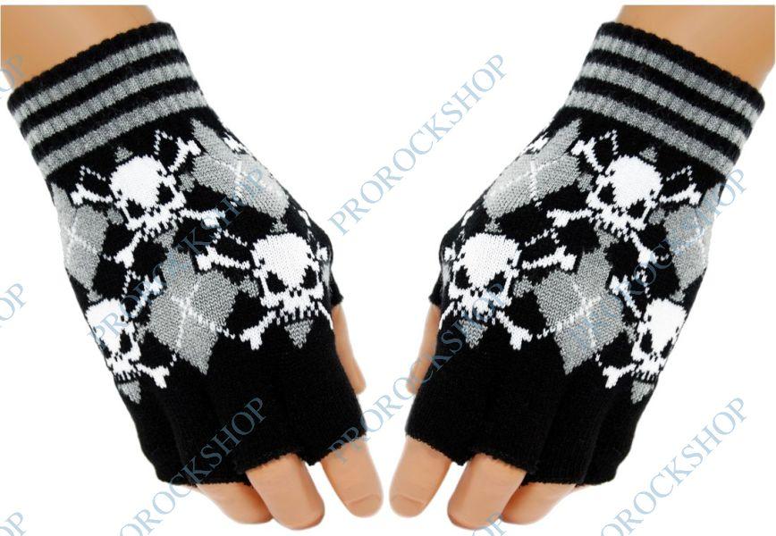 pletené rukavice bez prstů Rukavice s Lebkami - ProRockShop 7e077b09cf